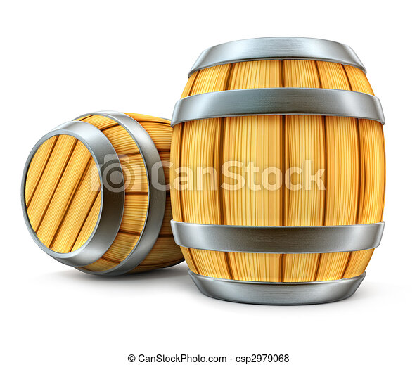 wooden barrel for wine and beer storage isolated - csp2979068