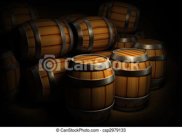 wooden barrels for wine and beer storage - csp2979133