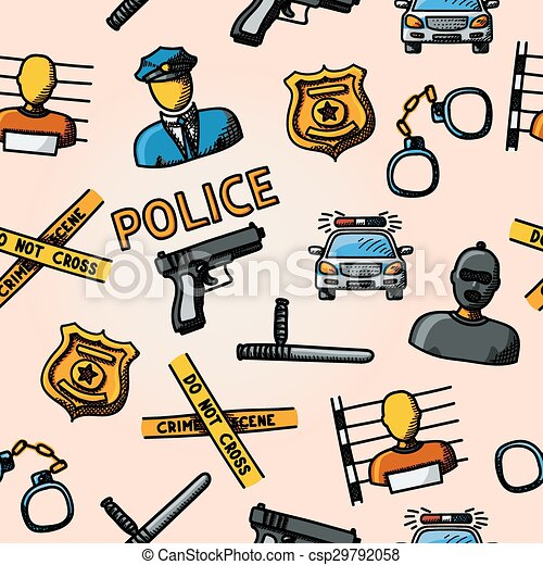 Clipart Vector of Color hand drawn police pattern - gun, car ...