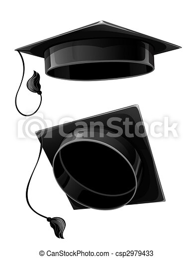 isolated cap of university student - csp2979433