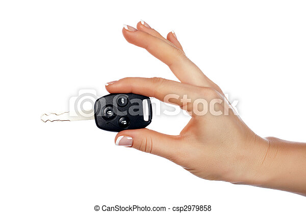 Hands holding an automobile key - csp2979858