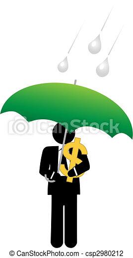Business man dollar money safe under umbrella - csp2980212