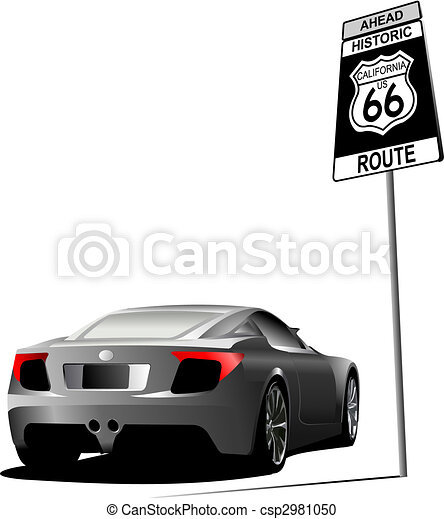 Cover for brochure with route 66 image. Vector - csp2981050