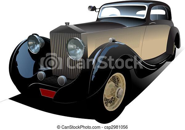 Old vintage car. Colored Vector illustration for designers - csp2981056