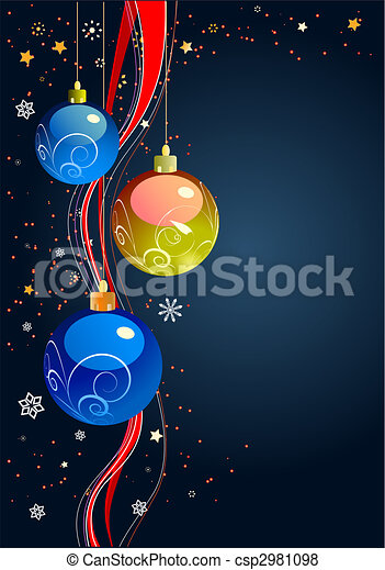 Christmas - New Year shine card with holiday balls  - csp2981098