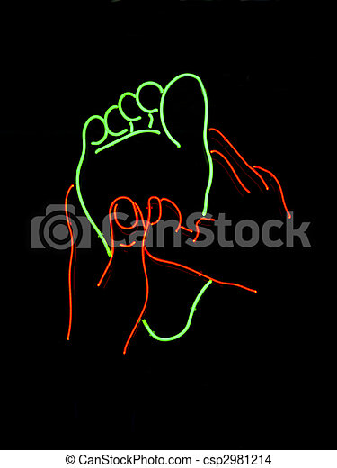 Stock Neon foot massage sign stock image images #2: can stock photo csp