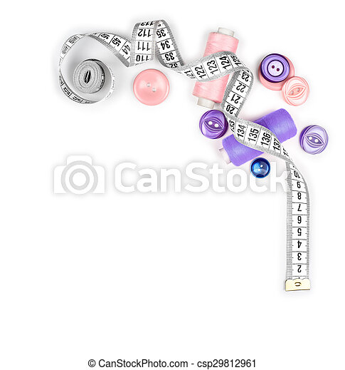 measuring tape and thread with buttons isolated on white background - csp29812961