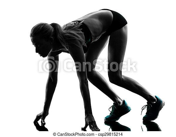 woman runner running jogger jogging silhouette - csp29815214