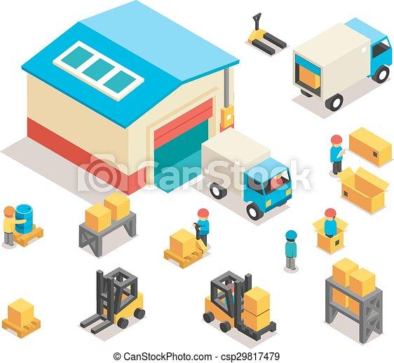 ilustraciones vectoriales de edificio isom trico conjunto el ctrico iconos camiones. Black Bedroom Furniture Sets. Home Design Ideas