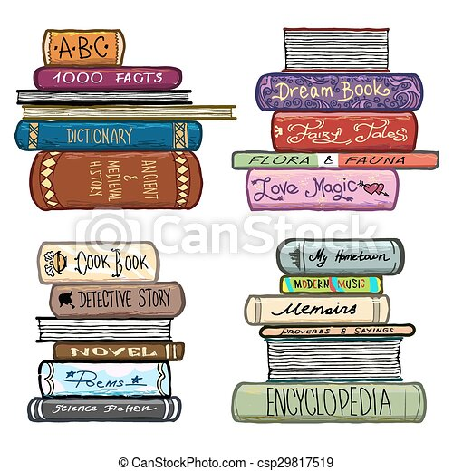 Vector Clip Art of Vintage hand drawn books library vector set ...