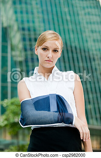 Businesswoman With Injured Arm - csp2982000