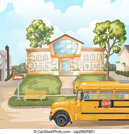 School bus and school building