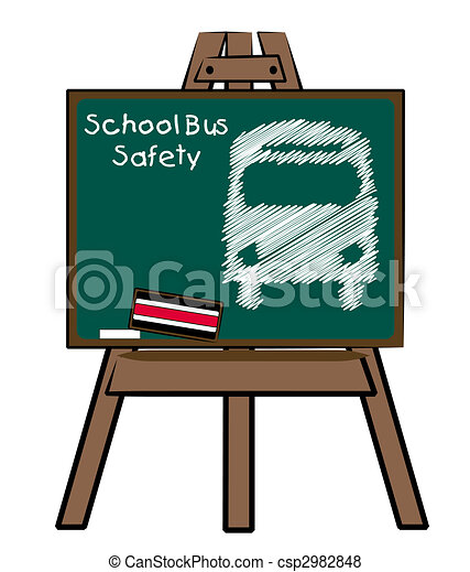 school bus safety and bus on chalkboard and easel - csp2982848