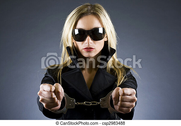 handcuffed woman - csp2983488