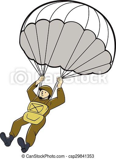 Vecteur Clipart de Américain, parachutiste, Parachute, dessin animé ...