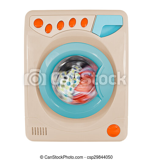 Retro washing machine isolated on a white background - csp29844050