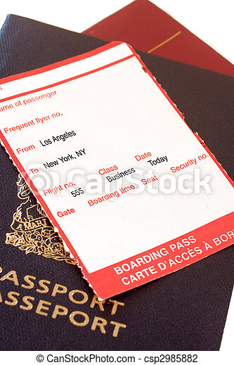 Los Angeles, New York boarding pass - csp2985882