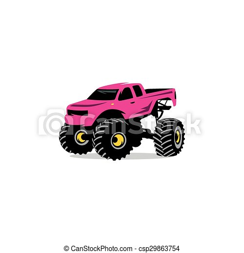 Monster Truck sign. The car on big wheels and high ground clearance. Vector Illustration. - csp29863754