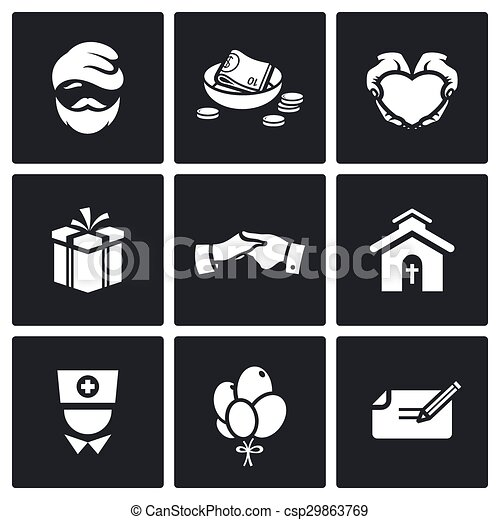 Charity. Help the homeless and poor people icons set. Vector Illustration. - csp29863769