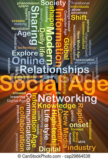 Social age background concept glowing - csp29864538