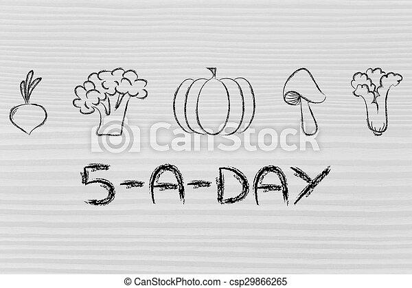 5 a day vegetables illustration