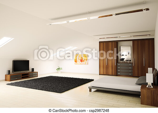 Modern bedroom interior 3d render - csp2987248