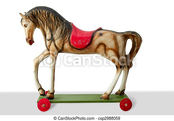 Horse wooden vintage colorful toy for children - csp2988059