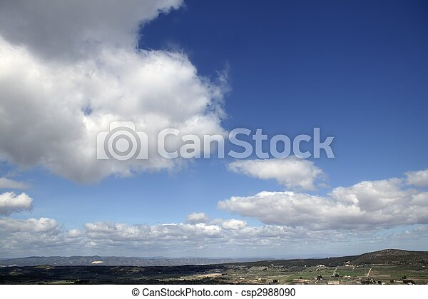 Blue beautiful sky with white clouds view in sunny day, nature - csp2988090