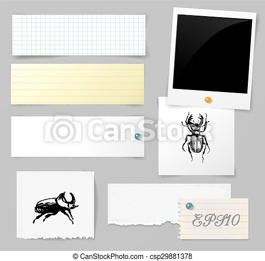 Vector set of paper objects with bugs - csp29881378