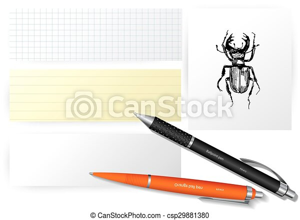 Vector set of paper objects with bugs - csp29881380