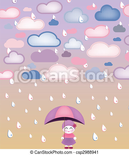 Cute girl under umbrella - csp2988941