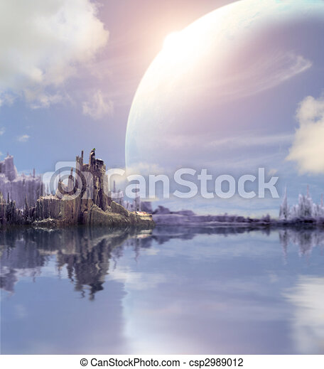 Landscape in fantasy planet - csp2989012