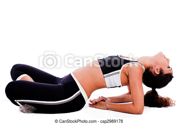 young yoga female doing yoga excercise - csp2989178