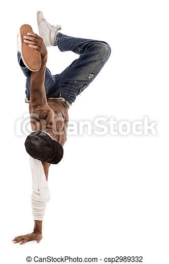 Steps in break-dance performed by the dancer  - csp2989332