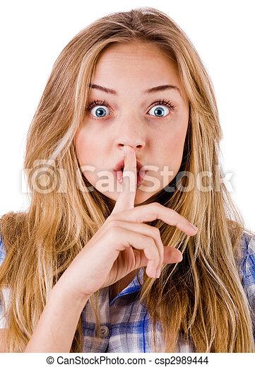 Women says ssshhh to maintain silence - csp2989444