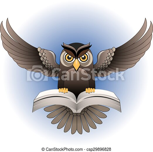Vector, Owl flying with the book - csp29896828