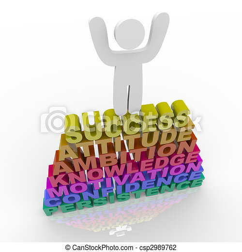 Person Celebrating Success - Atop Words - csp2989762