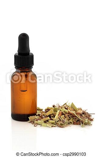 Valerian Root and Tincture Bottle - csp2990103