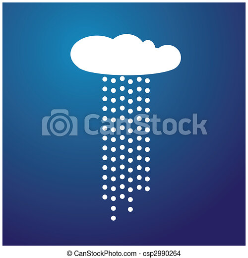 White cloud with rain and blue background vector - csp2990264
