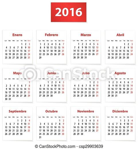 Vetores de 2016, Espanhol, Calendário - Calendário, para, 2016, ano ...