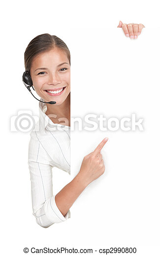 Headset woman from call center standing with billboard - csp2990800