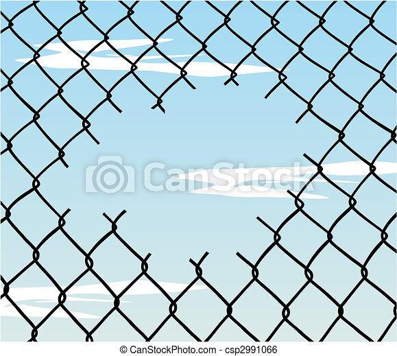 Cut wire fence with blue sky background - csp2991066