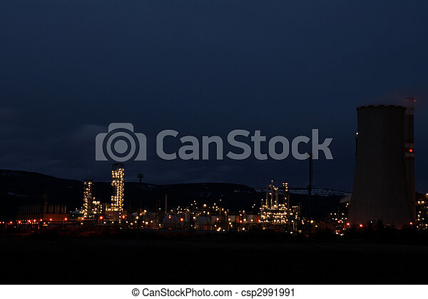 View of large petrochemical factory in night - csp2991991