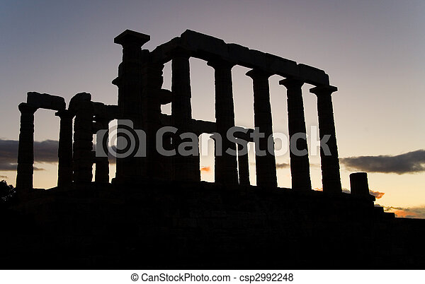 Temple of Poseidon on Sounion cape in Greece at sunset. The southernmost point of the Attica Peninsula - csp2992248