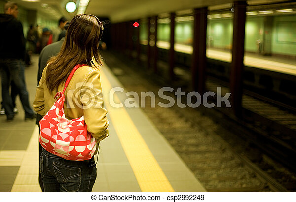 In the Athens subway. Passenger waitng for the train on the platform