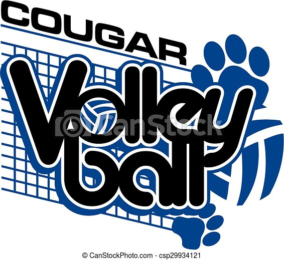 Vector Illustration Of Cougar Volleyball Team