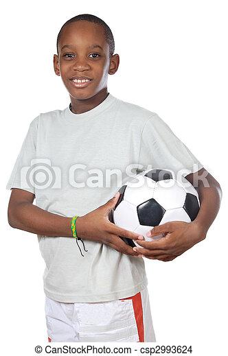 boy holding a soccer ball  - csp2993624