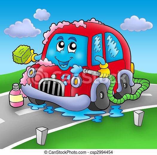 caricatura, coche, lavado, camino - csp2994454