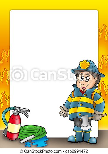 Fire protection frame with fireman - csp2994472