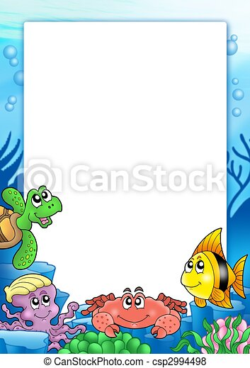 Frame with various sea animals - csp2994498